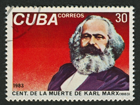 sociologist: CUBA - CIRCA 1983: A stamp printed in Cuba shows image of the Karl Heinrich Marx, 5 May 1818 - 14 March 1883) was a German philosopher, economist, sociologist, historian, journalist, and revolutionary socialist, circa 1983. Editorial