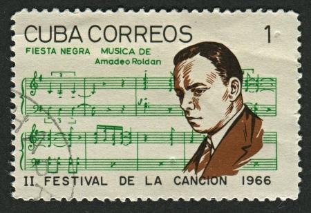 CUBA - CIRCA 1966: A stamp printed in Cuba shows image of the Amadeo Roldan y Gardes (Paris, 12 June 1900 - Havana, 7 March 1939) was a Cuban composer and violinist, circa 1966.