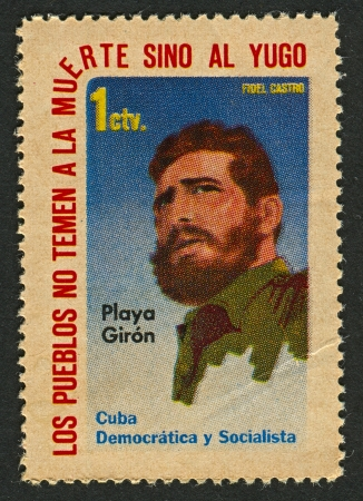 castro: CUBA - CIRCA 1962: A stamp printed in Cuba shows image of the Fidel Alejandro Castro Ruz  is a Cuban communist revolutionary and politician who was Prime Minister of Cuba from 1959 to 1976, and President from 1976 to 2008, circa 1962. Editorial