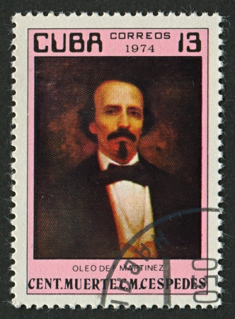 freed: CUBA - CIRCA 1974: A stamp printed in Cuba shows image of the Carlos Manuel de Cespedes del Castillo was a Cuban planter who freed his slaves and made the declaration of Cuban independence in 1868 which started the Ten Years War, circa 1974.