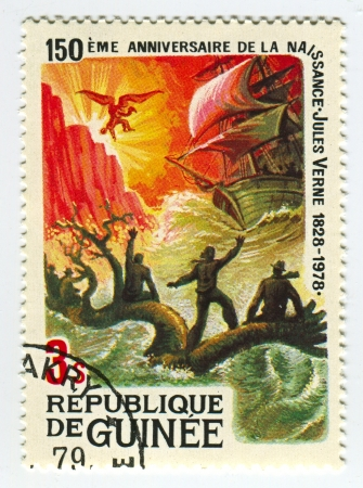 national poet: GUINEA - CIRCA 1978: A stamp printed in Guinea shows image of the Jules Verne novels, circa 1978.