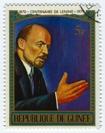 theorist: GUINEA - CIRCA 1970: A stamp printed in Guinea shows image of the Vladimir Ilyich Lenin; born Vladimir Ilyich Ulyanov, was a Russian communist revolutionary, politician and political theorist, circa 1970. Editorial