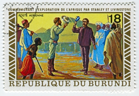 meets: BURUNDI - CIRCA 1973: A stamp printed in Burundi shows image of the Henry Morton Stanley meets David Livingstone, circa 1973.