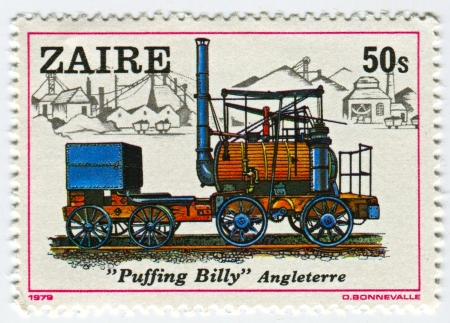 ZAIRE - CIRCA 1979: A stamp printed in Zaire shows image of the Locomotive Puffing Billy Angleterre, circa 1979.
