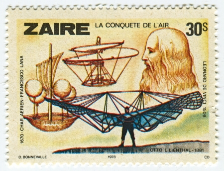 ZAIRE - CIRCA 1978: A stamp printed in Zaire shows image of the Leonardo di ser Piero da Vinci  was an Italian Renaissance polymath: painter, sculptor, architect, musician, mathematician, engineer, inventor, anatomist, geologist, cartographer, botanist, a