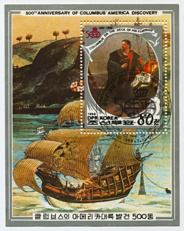 columb: NORTH KOREA - CIRCA 1988: A stamp printed in North Korea shows image of the 500th Anniversary Of Columbus, America Discovery, circa 1988.