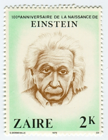 theoretical: ZAIRE - CIRCA 1979: A stamp printed in Zaire shows image of the Albert Einstein was a German-born theoretical physicist who developed the general theory of relativity, one of the two pillars of modern physics (alongside quantum mechanics), circa 1979.
