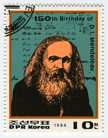 mendeleev: NORTH KOREA - CIRCA 1984: A stamp printed in North Korea shows image of the Dmitri Ivanovich Mendeleev was a Russian chemist and inventor, circa 1984.