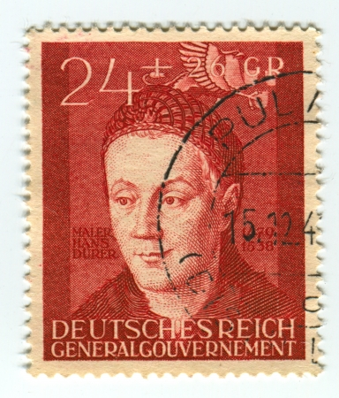 durer: DEUTSCHES REICH  - CIRCA 1942: A stamp printed in Deutsches Reich shows image of the Hans Durer (born February 21, 1490 in Nuremberg - ca. 1538), was a German Renaissance painter, illustrator, and engraver, circa 1942.