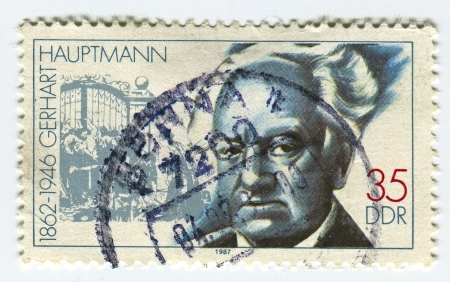 dramatist: GERMANY - CIRCA 1987: A stamp printed in Germany  shows image of the Gerhart Hauptmann (15 November 1862 - 6 June 1946) was a German dramatist and novelist who received the Nobel Prize in Literature in 1912, circa 1987.  Editorial