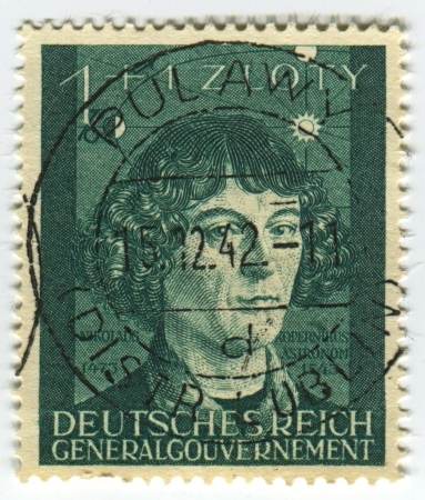 DEUTSCHES REICH  - CIRCA 1942: A stamp printed in Deutsches Reich shows image of the Nicolaus Copernicus was a Renaissance mathematician and astronomer who formulated a heliocentric model of the universe which placed the Sun, rather than the Earth, at the Stock Photo - 21900597