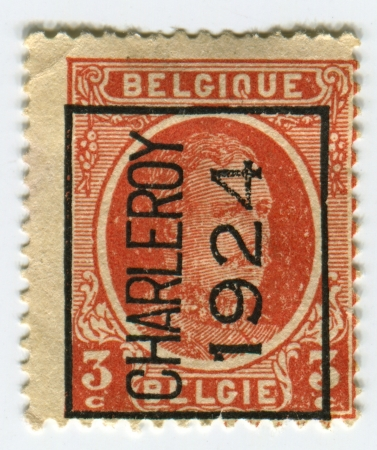 BELGIUM - CIRCA 1922: A stamp printed in Belgium shows image of the Albert I (April 8, 1875 - February 17, 1934) reigned as King of the Belgians from 1909 through 1934, circa 1922.  Stock Photo - 21900599