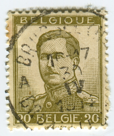 BELGIUM - CIRCA 1912: A stamp printed in Belgium shows image of the Albert I (April 8, 1875 - February 17, 1934) reigned as King of the Belgians from 1909 through 1934, circa 1912. Stock Photo - 21900601