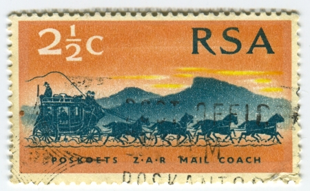 rsa: RSA - CIRCA 1986: A stamp printed in RSA shows image of  the mail coach or post coach was a horse-drawn carriage that carried mail deliveries, circa 1986.
