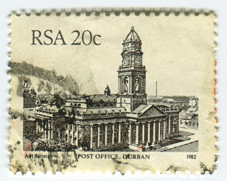 rsa: RSA - CIRCA 1982: A stamp printed in RSA shows image of The city post office was built during the 1880s and served as the town hall until the union was formed in 1910, circa 1982.