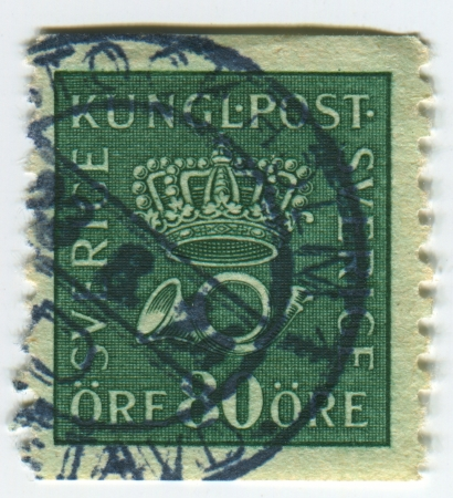 posthorn: SWEDEN - CIRCA 1923: A stamp printed in Sweden shows image of The post horn (also posthorn, post-horn, or coach horn) is a valveless cylindrical brass or copper instrument with cupped mouthpiece, used to signal the arrival or departure of a post rider or  Editorial