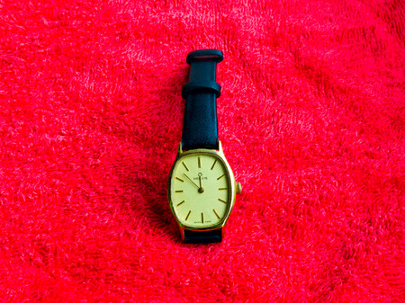 GOMEL, BELARUS - SEPTEMBER 23, 2014: MILUS SWISS MADE Model M8.1040 wristwatch. Milus is a Swiss watch brand.