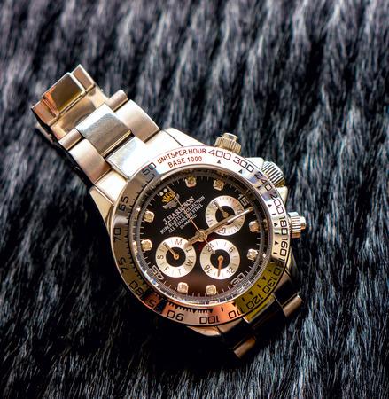 chronograph: GOMEL, BELARUS - AUGUST 31, 2014: J. HARRISON J.H-014DS wristwatch. J. HARRISON this Japanese watch company.