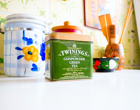gunpowder tea: GOMEL, BELARUS - SEPTEMBER 24, 2014: Twinings Tea Gunpowder Green Tea. Twinings holds the worlds oldest continually-used company logo. Editorial