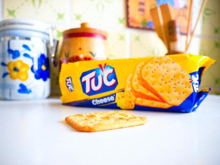 marketed: GOMEL, BELARUS - SEPTEMBER 24, 2014: Salted snack biscuit TUC cheezzz. Crackers marketed by Mondelez International.