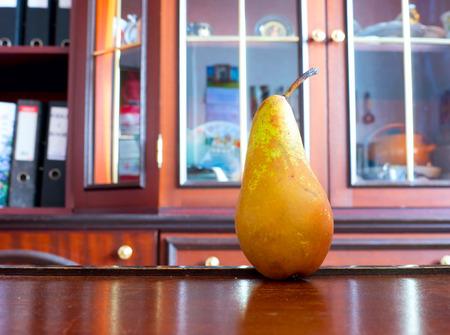 nip: Pear nibble. Stock Photo
