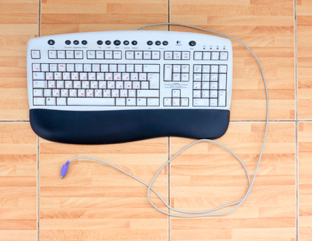 jointly: GOMEL, BELARUS - FEBRUARY 13, 2015: Logitech Office Keyboard Y-SQ33 (SK-2910). Logitech International S.A. is a Swiss global provider of personal computer and tablets accessories with EMEA headquarters in Lausanne, Switzerland.