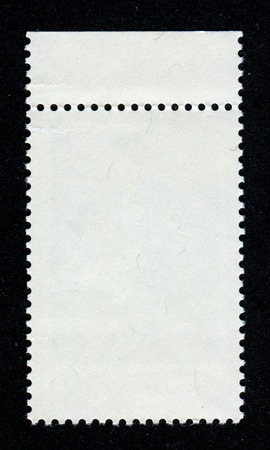 blanked: The reverse side of a postage stamp.