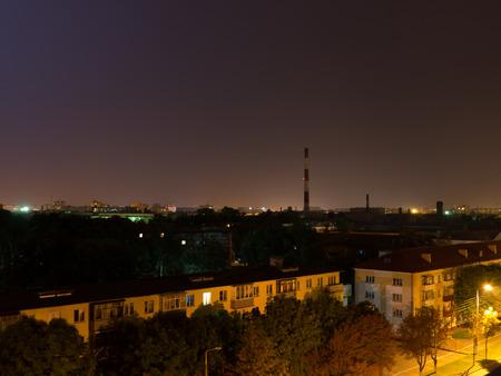 factory: Factory chimneys.