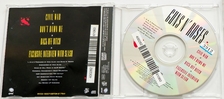 formed: GOMEL, BELARUS - AUGUST 18, 2015: CD GUNS N ROSES  Civil War (1993), Guns N Roses is an American hard rock band from Los Angeles formed in 1985. Editorial