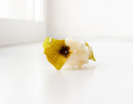 nibble: Pear nibble. Stock Photo