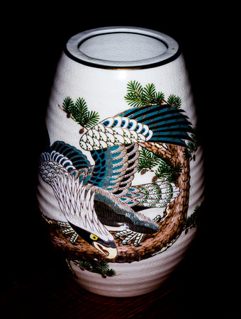 fine china: GOMEL, BELARUS - NOVEMBER 28, 2015: The Japanese porcelain vase (Kutani). Porcelain (also known as china or fine china) is a ceramic material made by heating materials. Editorial