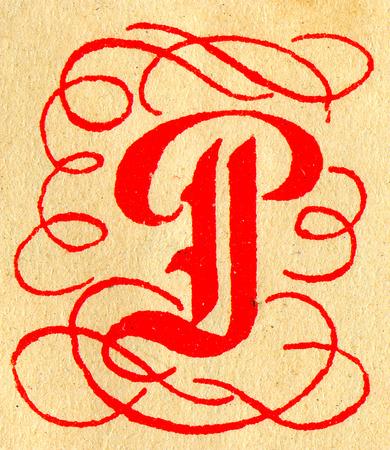initials: Initials letter P.