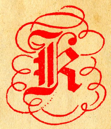 initials: Initials letter R.