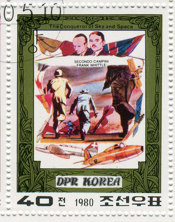 whittle: NORTH KOREA - CIRCA 1980: A stamp printed in North Korea shows image of the Conqueror Of Sky and Space, circa 1980. Editorial
