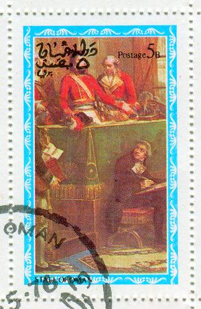 bonaparte: STATE OF OMAN - CIRCA 1976: A stamp printed in State Of Oman shows image of the Napoléon Bonaparte ( born Napoleone di Buonaparte; 15 August 1769 – 5 May 1821) was a French military and political leader, circa 1976. Editorial
