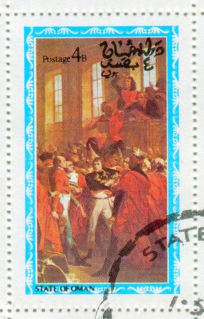 bonaparte: STATE OF OMAN - CIRCA 1976: A stamp printed in State Of Oman shows image of the Napoléon Bonaparte ( born Napoleone di Buonaparte; 15 August 1769 – 5 May 1821) was a French military and political leader, circa 1976.