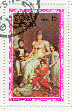 napoleon i: STATE OF OMAN - CIRCA 1976: A stamp printed in State Of Oman shows image of the Joséphine de Beauharnais (née Tascher de la Pagerie; 23 June 1763 – 29 May 1814) was the first wife of Napoleon I, and thus the first Empress of the French, circa 1976.