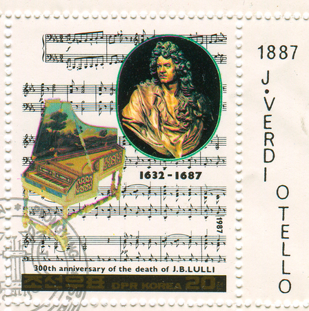 composers: GOMEL,BELARUS - JANUARY 2016: A stamp printed in North Korea shows image of the anniversary of the death composers, circa 1987.