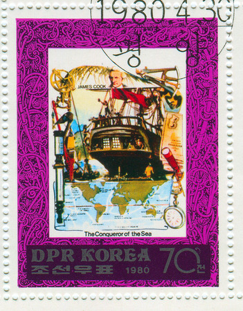 conqueror: GOMEL,BELARUS - JANUARY 2016: A stamp printed in North Korea shows image of the Conqueror of the Sea, circa 1980.