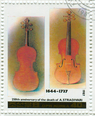 melodist: GOMEL,BELARUS - JANUARY 2016: A stamp printed in North Korea shows image of the anniversary of the death composers, circa 1987.