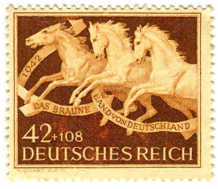 GOMEL,BELARUS - JANUARY 2016: A stamp printed in Germany shows image of The Brown band of Germany, circa 1942.