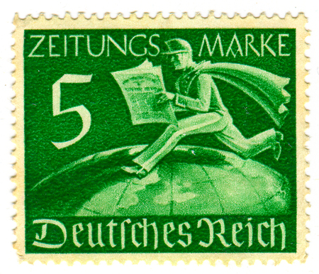 GOMEL,BELARUS - JANUARY 2016: A stamp printed in Germany shows image of the German newspaper, circa 1942.