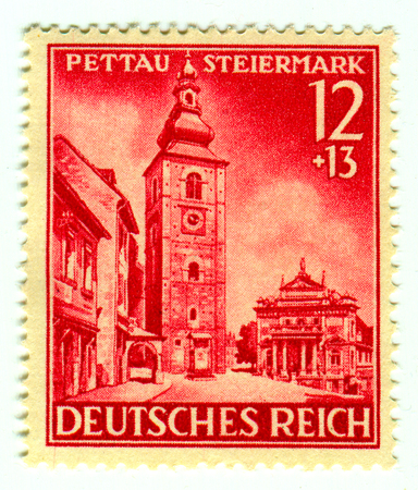 GOMEL,BELARUS - JANUARY 2016: A stamp printed in Germany shows image of the Ptuj is a town in northeastern Slovenia, circa 1942.