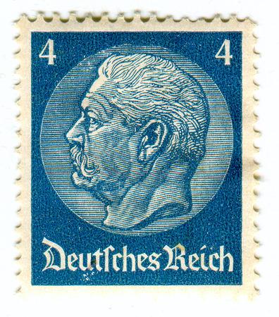GOMEL,BELARUS - FEBRUARY 2016: A stamp printed in Germany shows image of the Paul Ludwig Hans Anton von Beneckendorff und von Hindenburg, known universally as Paul von Hindenburg (2 October 1847 - 2 August 1934) was a German military officer, statesman, a