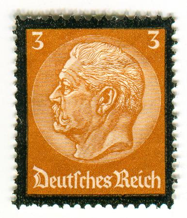 universally: GOMEL,BELARUS - FEBRUARY 2016: A stamp printed in Germany shows image of the Paul Ludwig Hans Anton von Beneckendorff und von Hindenburg, known universally as Paul von Hindenburg (2 October 1847 - 2 August 1934) was a German military officer, statesman, a