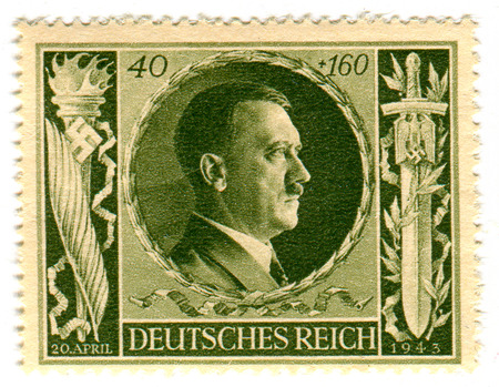 adolf hitler: GOMEL,BELARUS - FEBRUARY 2016: A stamp printed in Germany shows image of the Adolf Hitler (20 April 1889 - 30 April 1945) was an Austrian-born German politician who was the leader of the Nazi Party, circa 1943.