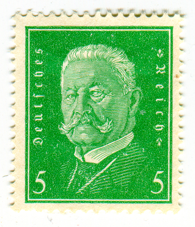 hindenburg: GOMEL,BELARUS - FEBRUARY 2016: A stamp printed in Germany shows image of the Paul Ludwig Hans Anton von Beneckendorff und von Hindenburg, known universally as Paul von Hindenburg (2 October 1847 - 2 August 1934) was a German military officer, statesman, a
