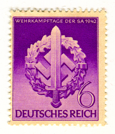 Reich: GOMEL,BELARUS - FEBRUARY 2016: A stamp printed in Germany shows image of the anniversary of the German Reich military combat days, circa 1942. Editorial