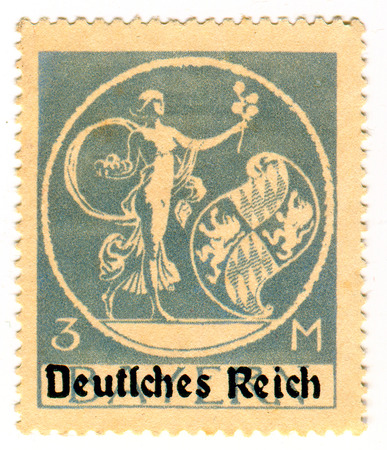 fertility goddess: GOMEL,BELARUS - FEBRUARY 2016: A stamp printed in Germany shows image of the goddess of fertility, circa 1939. Editorial
