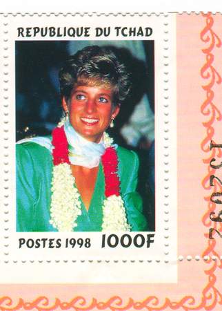 A stamp printed in Chad shows image of the Diana, Princess of Wales (1 July 1961 - 31 August 1997), was the first wife of Charles, Prince of Wales, who is the eldest child and heir apparent of Queen Elizabeth II, circa 1998.